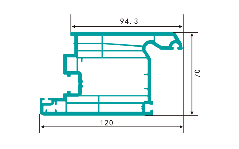 PC70MS(2.11kg/m)-PVC profiles for doors and windows