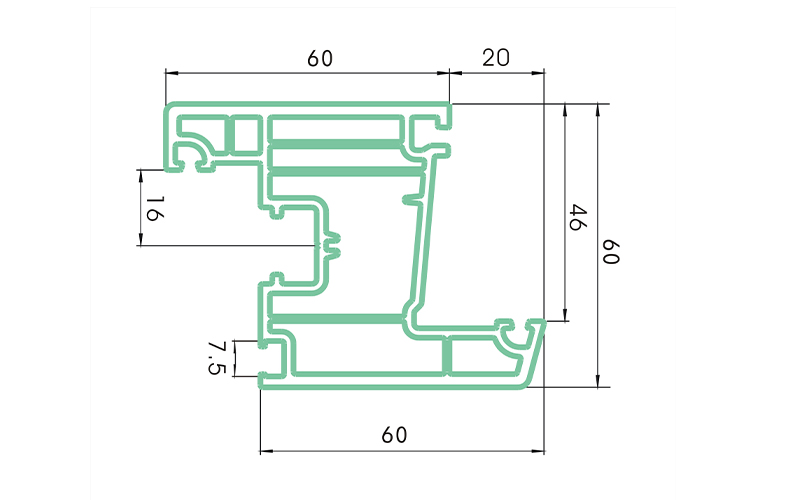 PC60NKS-PVC profiles for doors and windows